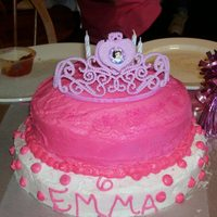 Princess Birthday Cake This cake i did for my little neighbors cake.I did a fake crown on top, hot pink frosting in middle, and white frosting on top.I tipped in...