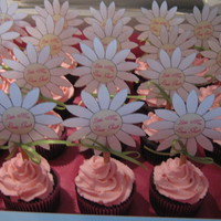 Daisy Baby Shower Cupcakes homemade daisy toppers on chocolate cupcakes with cherry buttercream. fondant daisies with double liners with ribbons. please see other...