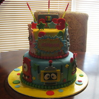 Yo Gabba Gabba Cake 2 tier yo gabba gabba cake. Borrowed this cake design from 2 cakes on cake central, thank you!