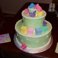 Butterfly Baby Shower Cake I Made this cake to specifically match the fabric swatches that were given to me by the mom to be.