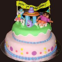 Dora The Explorer  this was my first attempt at a 2 tier cake. unfortunately my 2nd tier came out too small so i just stacked it on top. i didn't feel i...