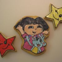 1St Time Decorating Cookies - Dora & Boots  This was my first time decorating cookies! :D Worked my butt off for way too long for it to be practice so i made it out to my baby sisters...