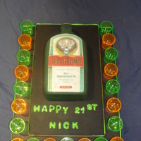 Jagermeister 21St Cake A friend asked me to made a cake for her son's 21st birthday - he's a MAD Jagermeister fan....it only made sense to replace the...