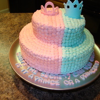Prince Or Princess? the cake was baby boy blue inside and that is how the parents to be found out what they were having