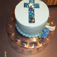 Easter/bday Cake I painted stained glass on a gumpaste cross.