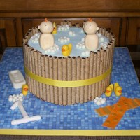 Bathtub Fun! Vanilla bean cake with raspberry filling and white choc buttercream. Ducks, bubbles and characters molded from chocolate. Thanks for all...