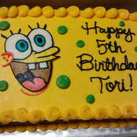 Spongebob Birthday  Chocolate cake with chocolate icing. I used a buttercream transfer for the top vanilla layer of yellow icing and for Spongebob. Thanks for...