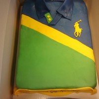 Polo Birthday Cake  Cake for a teenager whose favorite thing in the world is polo shirts. WASC with vanilla buttercream frosting and MMF. Logo is color flow....