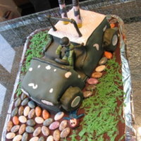 My Dad's Army Atv This is really my first fondant cake. For my dad's 65 birthday... cake was replica of his quad (ATV)...it's really a big one-2...