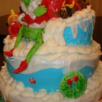 Grinch Cake This was my first attempt to make a tospy turvy cake. It came out okay my son's birthday is on Christmas Eve and this is what he...