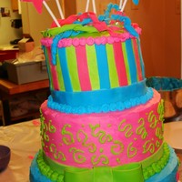 Birthday Cake 3 Tier Strawberry cake with whipping cream frosting and fondant accents.