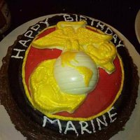 Marine So this was for my Marine he wanted german chocolate with a white chocolate Marine mold. I used fondant for the red and black. This is not...