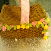 Easter Basket made this in class as part of our examination for the first somester. Its a maderia cake with basket weave and hand piped roses and leaves...
