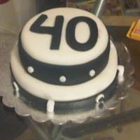 "Simple, Black & White Birthday Cake This was my second attempt at using fondant. I made the cake for my brother-in-law's 40th birthday. I carved the ""4"" and the..."