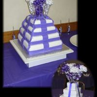 Wedding Shower This cake was made to mimic the center pieces (bottom corner) which were a stack of white boxes tied in purple ribbon with champagne flutes...