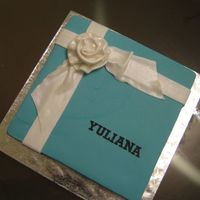 Tiffany With Ribbon Rose   Simple square cake with ribbon rose.