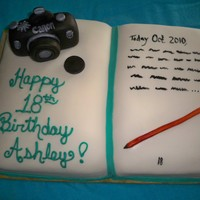 Photo/book Cake Birthday cake for a young lady into journalism and photography