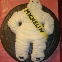 "Michelin Man My stepdad has worked in the tire business for 30 years and I made this ""BIB"" theMichelin Man cake for his birthday!"