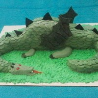 Dragon Grooms Cake Midevil Green dragon with scales