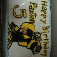 Bumblebee Transformer Cake   2 layer chocolate cake, all buttercream icing and decor