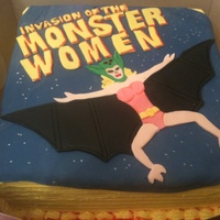 Invasion Of The Monster Women Birthday Cake  Oddest request yet! Double layer amaretto cake, buttercream icing, all decor in fondant, character is called Vampira (half woman, half...