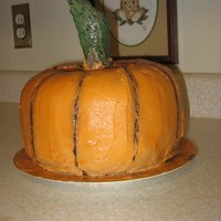 Pumpkin Cake For Halloween Birthday  My son and I did this one for his wife's birthday which is close to Halloween. I used 2 bundt cakes and a round layer. Buttercream...