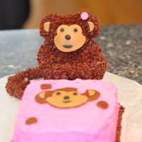 Monkey Smash Cake This was my daughter's first birthday smash cake!The monkey was made with Wilton's mini bear pan, nilla wafers for ears and...