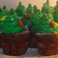 Christmas Tree Cupcake   white chocolate buttercream christmas trees on a mini dark chocolate mini cupcake