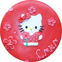 Hello Kitty   fondant cake filled with vanilla biscuit an two layers of strawberry cream and fresh strawberries