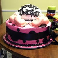 Cute Baby Bottom!   Baby shower cake done for a friends sister! The nursery is done in hot pink and black, very fun!