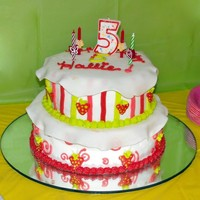 "Strawberry Shortcake This was my daughter's 5th birthday cake....I started with a 10"" white cake on the bottom, frosted white with buttercream icing...."
