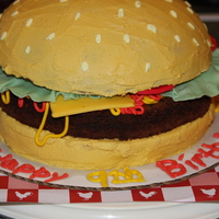 Hamburger Cake I made this for my daughter's 9th birthday. It was all that she wanted. I made the burger out of brownie mix and the bun I cooked in a...