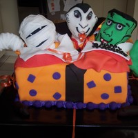 Spooky Trio My Sons birthday cake featuring his 3 favorite monsters popping out of a present to surprise him! He has a Halloween birthday so it's...