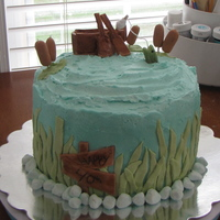Gone Fishin' 40Th Birthday!! Double chocolate pound cake with vanilla buttercream.