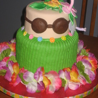 Hula Girl Cake With Hibiscus Flowers  This was a cake made for school, my sons Kindergarten class for hula day at the end of the school year. The Cakes were all party chip with...