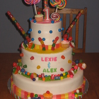 Candyland First Birthday Cake This was a three tier birthday cake that I made for my girlfriends twins birthday party! It was three tiers, one layer strawberry, one...