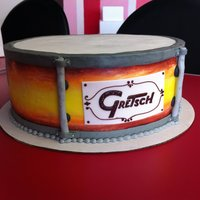 Gretsch Drum Cake   Everything is buttercream but the white of that label, which is fondant.