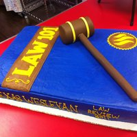 Law School Book Grad Cake   Fondant gavel, the rest is buttercream