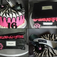 """prada"" Shoe Box Gumpaste shoe with coordinating cake and shoe box. TFL :)"