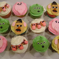 Toy Story Cupcakes gum paste face, butter cream for sheep and almond slivers for the ears.