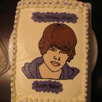 Justin Bieber My first frozen butter cream transfer. Thanks to Djenesis - I used her Justin Bieber Cake for the picture. This was done for a neighbor&#...