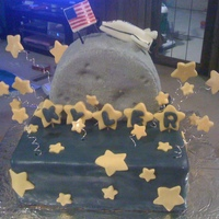 To The Moon!! My cousin's son loves the moon & stars, so I made him a cake to represent that! It's all cake, covered in MMF with MMF...