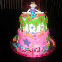 Gymnast I made this cake for a little girl's 6th birthday. The theme was gymnastics but the client wanted non-traditional girlie colors! The...