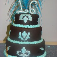 16Th Birthday Cake Chocolate Fondant, Vanilla cake, Chocolate buttercream filling