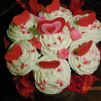 Valentine Cupcake Bouquet Chocolate Cupcakes with fondant accents