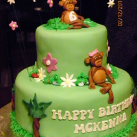 Monkey Cake Chocolate Cake with Chocolate Butter cream frosting. All figures are fondant. Rocks on border are milk chocolate candy rocks. Very fun cake...
