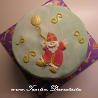 Sinterklaas, Saint Nicholas With A Balloon Decorated with sugar paste, filled with strawberry and whipped cream