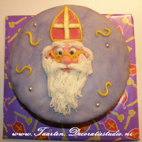 Sinterklaas, Saint Nicholas Cake Decorated with marzipan paste, filled with strawberry and whipped cream.