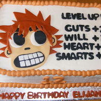 Scott Pilgrim This is Scott Pilgrim. Chocolate cake with buttercream. I did the figure in MMF