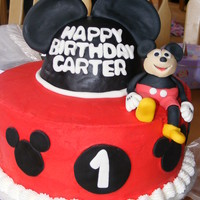 Mickey Mouse This is a Mickey Mouse cake I did for a friend. White Cake with Buttercream. The ears were made out of Rice Krispy treats and covered in...